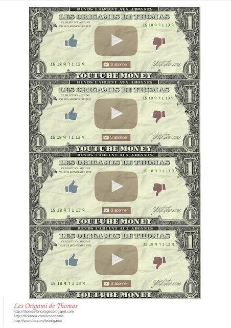 Planche de billet Youtube Monney - Taille réel dollars américain