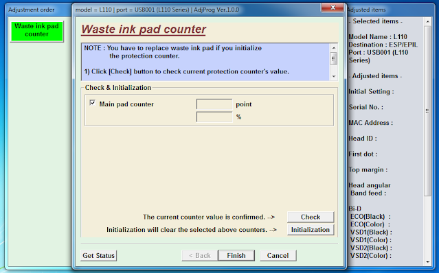 Check & Initialization Main pad counter