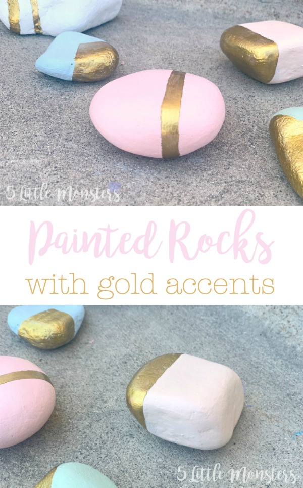 5 Little Monsters Painted Rocks With Gold Accents