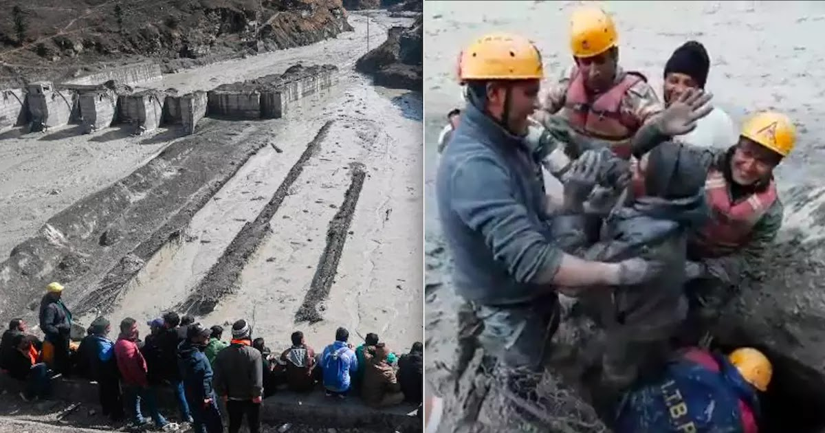 Video Shows Rescuers Saving Those Trapped By Uttarakhand Glacier Burst In India