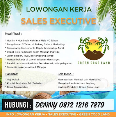 lowongan kerja sales executive green coco land jakarta