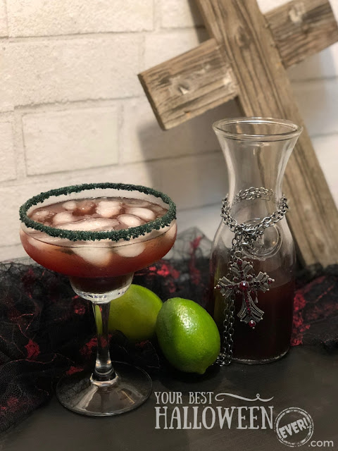 best Halloween party cocktails, easy margarita recipe, black cherry margarita, vampire's kiss margarita, vampire cocktail
