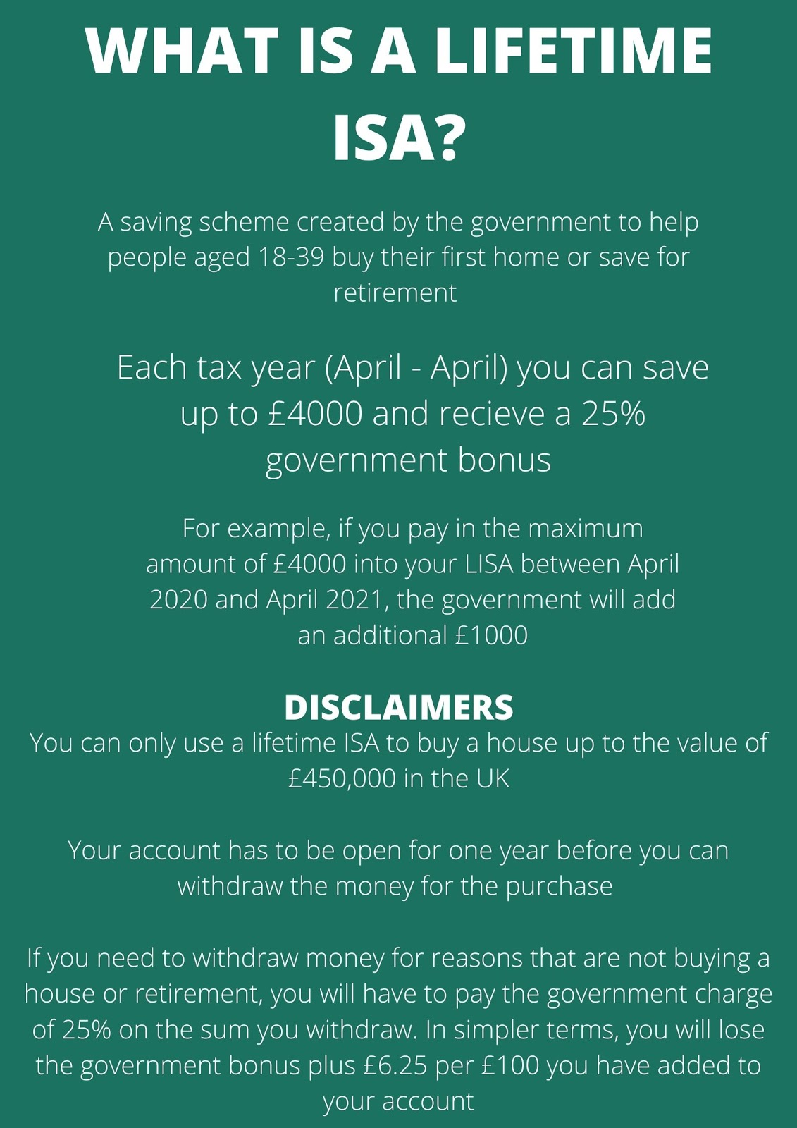 A dark green background with white writing explaining the key points of a Lifetime ISA