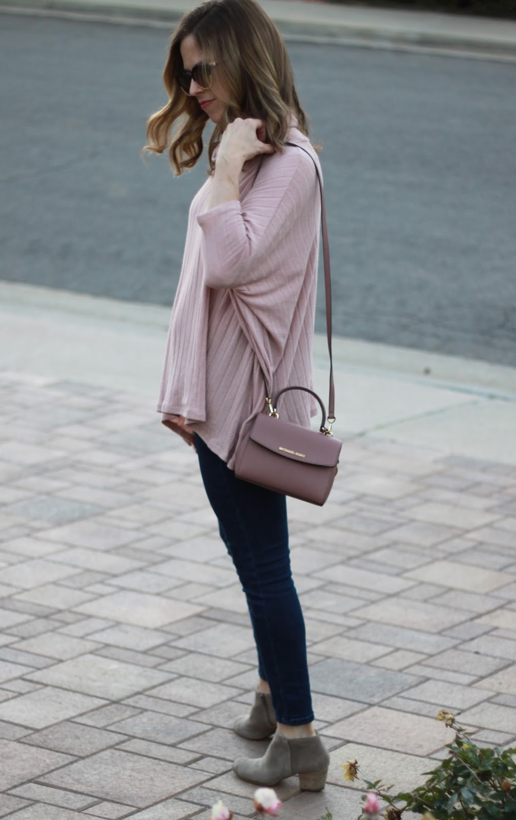 blush bag and sweater