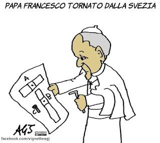 papa francesco, svezia, ikea, satira, vignetta
