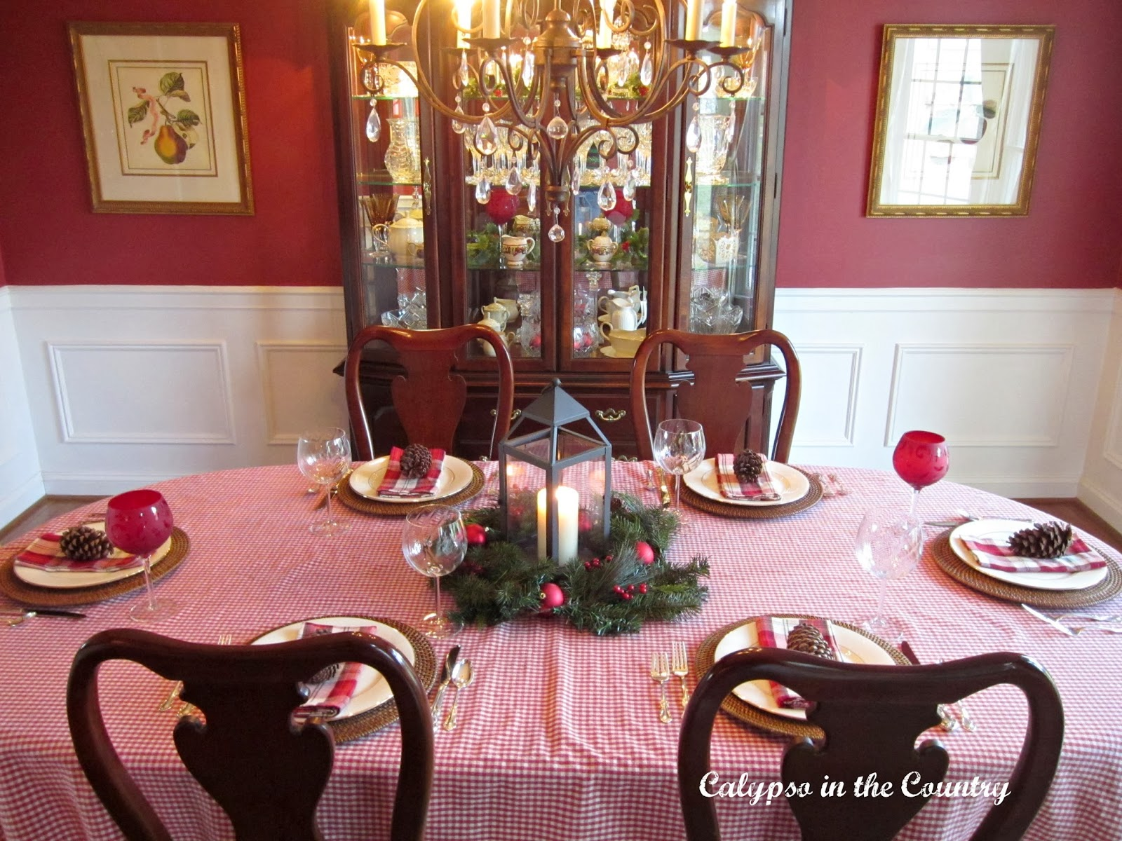 Christmas Table in Red Dining Room