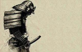 Dibujo de samurai con armadura