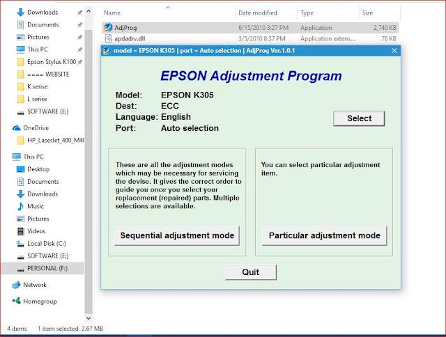 Epson K305 resetter