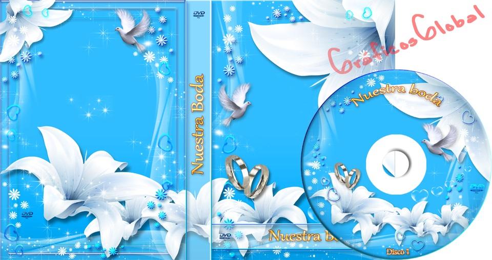 Plantilla psd color celeste con lirio portada dvd