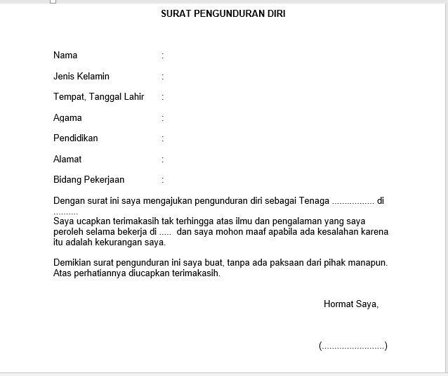 Contoh Surat Pengunduran Diri Tenaga Kontrak