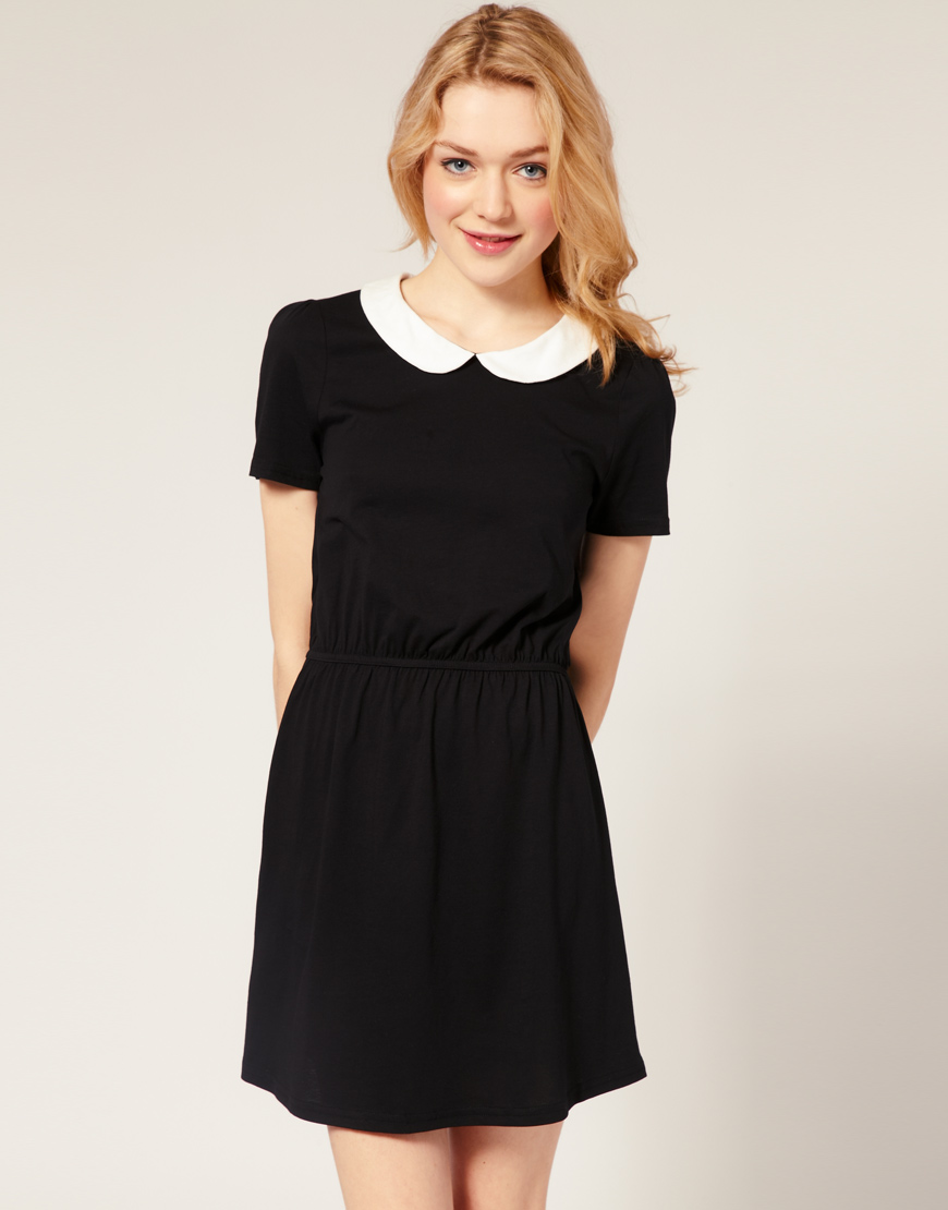 Black Collared Tie Back Tropical Print Bodycon Dress From: Weekly Fashion: Peter Pan Collar