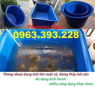 Thùng nhựa chữ nhật dung tích lớn, thùng tròn nuôi cá, bồn nhựa xanh công nghiệp
