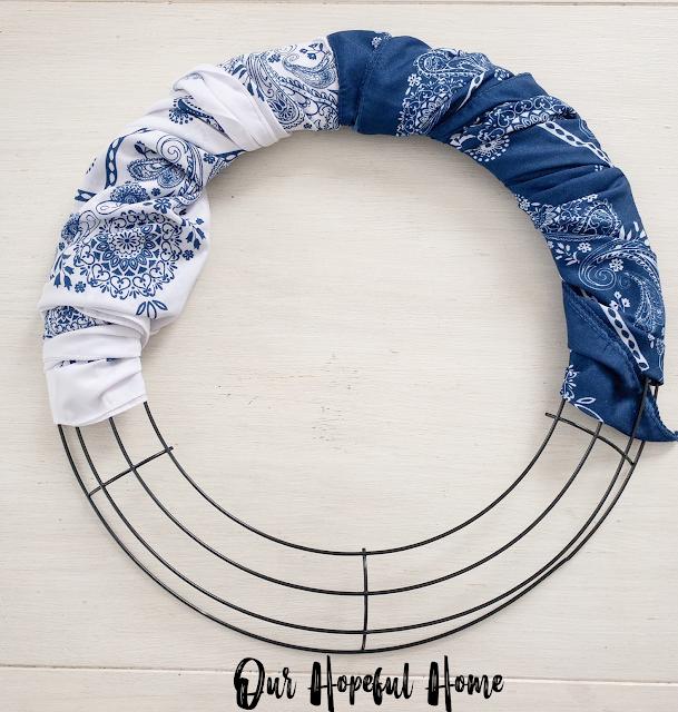 wrapped bandanas wreath form