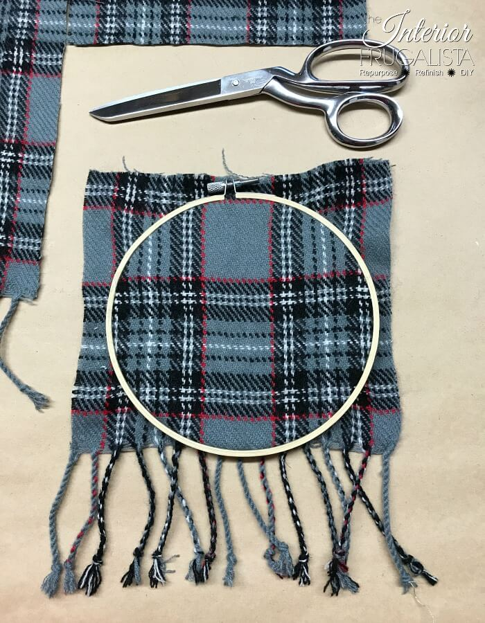 Recycled Plaid Sweater Ornament Embroidery Hoop