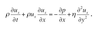 A one dimensional version of the Navier-Stokes equation for fluid flow.