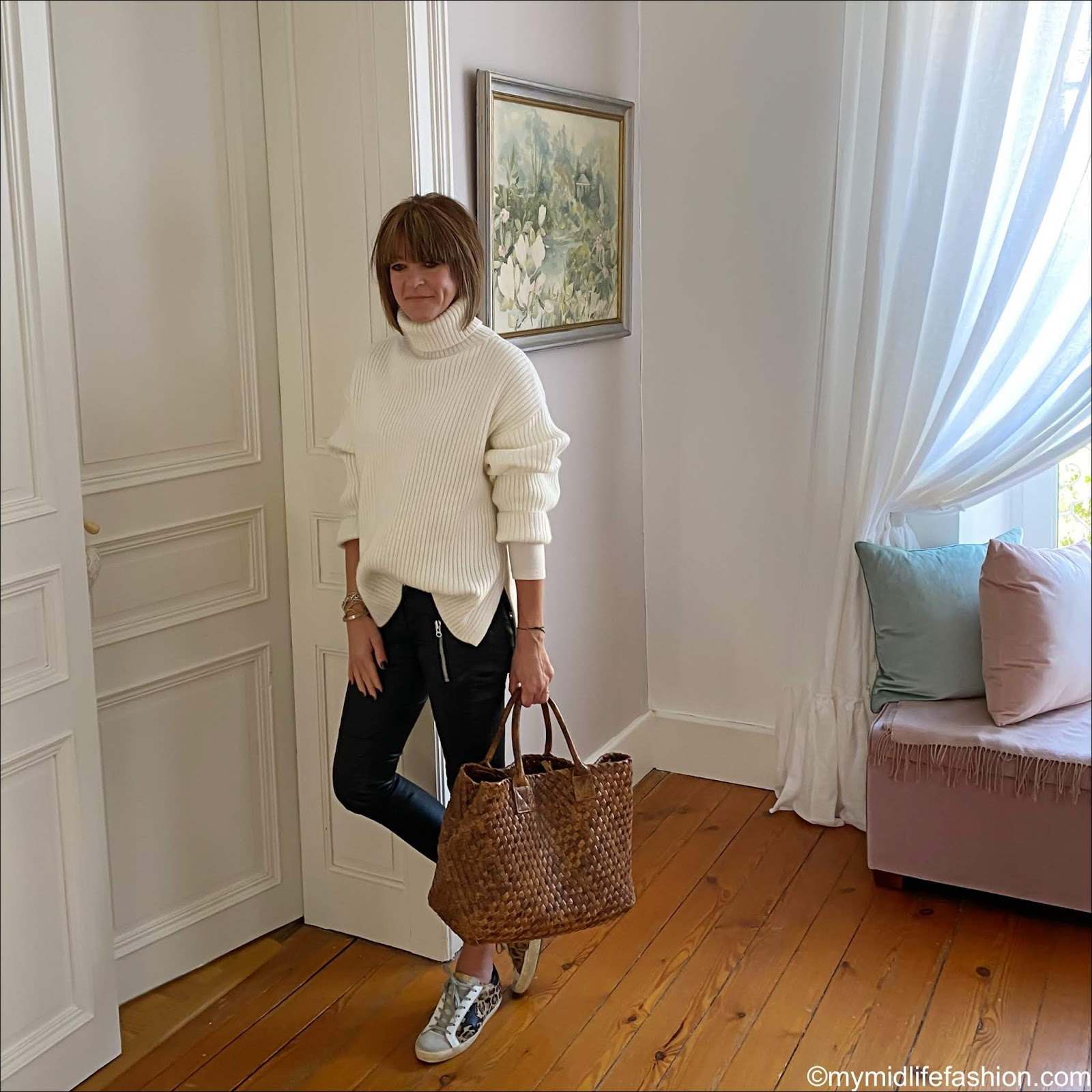 my midlife fashion, H&M ribbed oversized roll neck jumper, rivera iris snake caramel handwoven tote bag, Isabel Marant Etoile biker jeans, golden goose superstar low top leather leopard print trainers