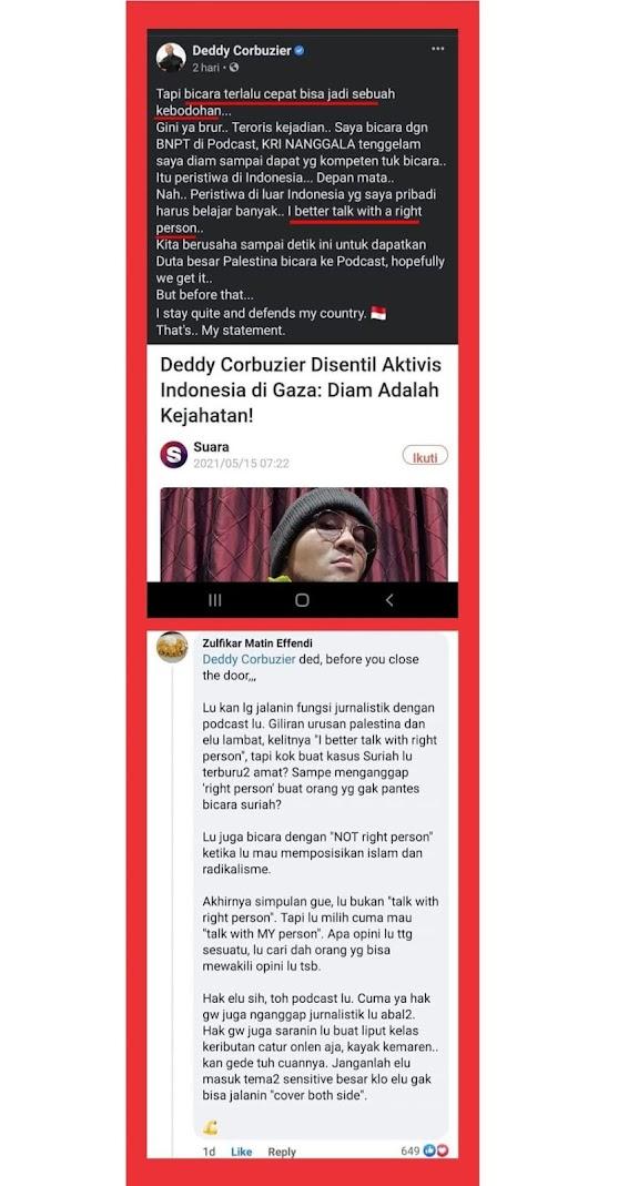 MANTUL!! Tanggapan Zulfikar Matin Effendi untuk Deddy Corbuzier, Yang Ngeles Soal Palestina