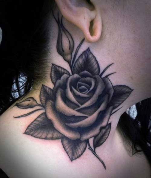 black grey rose tattoo for neck