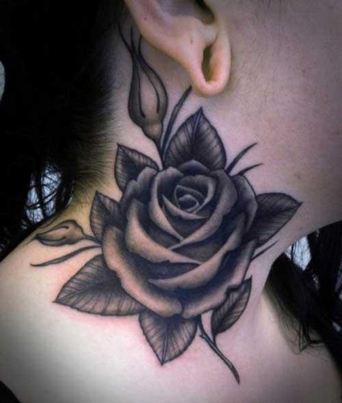 black grey rose tattoo for neck
