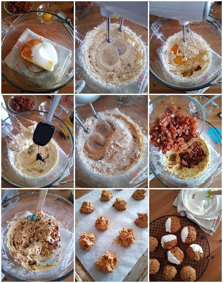 Preparación de las galletas de torta negra, collage de 9 fotos