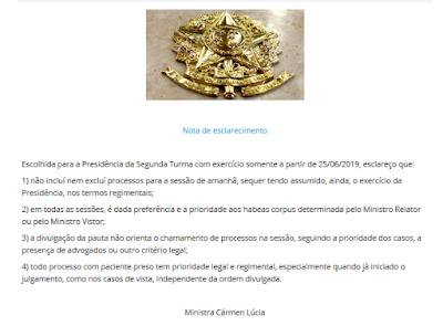 Nota da ministra Cármen Lúcia