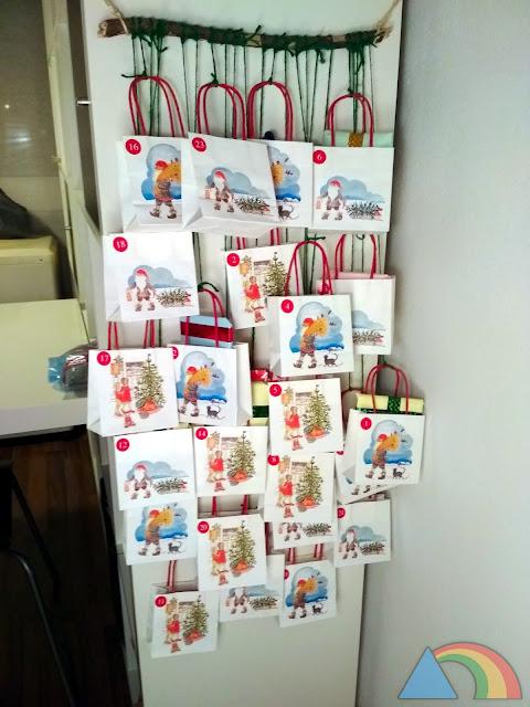 Calendario de Adviento de bolsas de cartón