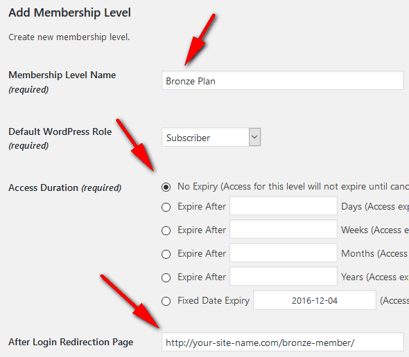 New membership level settings page