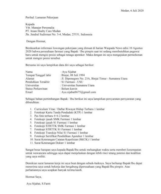 Cara Membuat Surat Lamaran Kerja yang Terstruktur (via: nomis.id)