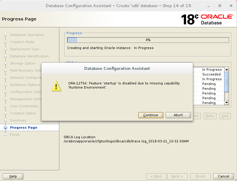 Oracle 18c - ORA-12754: Feature 'startup' is disabled due to