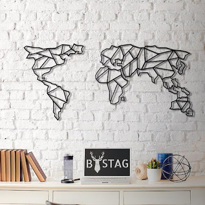 World Map Metal Wall Décor