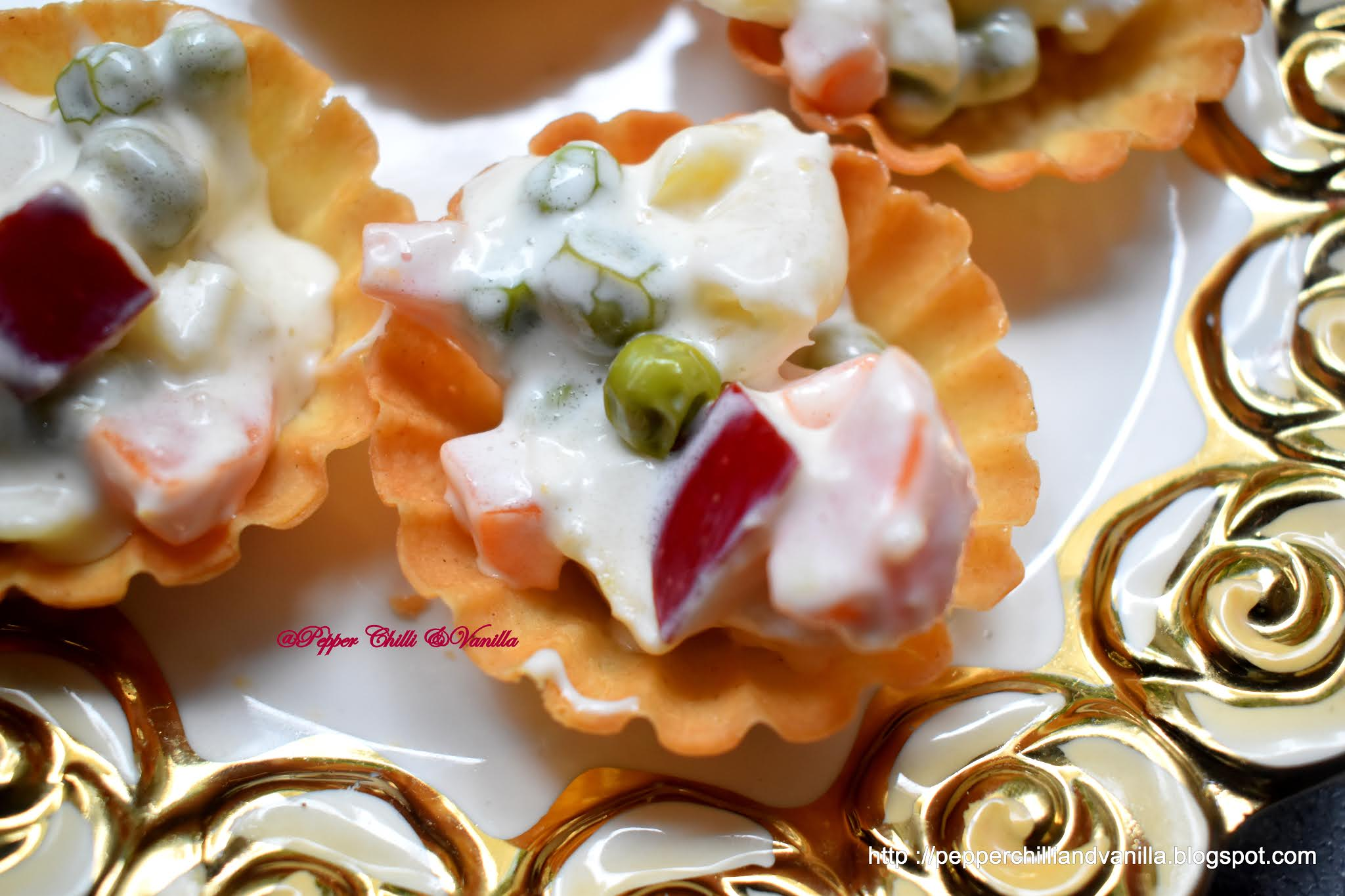 canape with russian salad ,veg forminhas,veg canapes