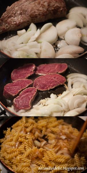 wołowina, makaron, cebula