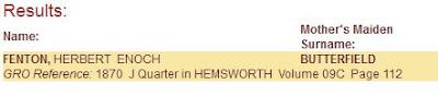 Fenton, Herbert Enoch mmn Butterfield b. Q2 1870 Hemsworth