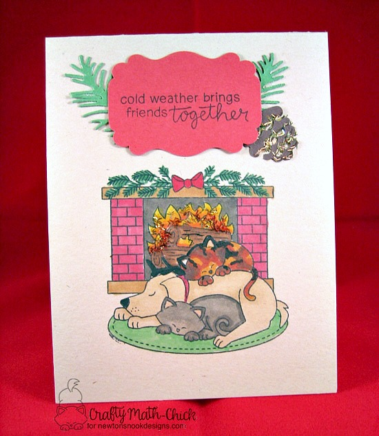 Dog and Cat by Fireplace Card by Crafty Math-Chick | Fireside Friends Stamp Set by Newton's Nook Designs #newtonsnook