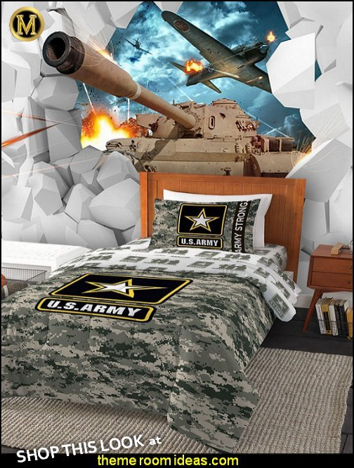 U.S Army Department of United States Army Camo Comforters Aircraft Tanks Battlefield Mural  Army Room Decor - Marines decor boys army rooms - Airforce Rooms - camo themed rooms - Uncle Sam Military home decor - military aircraft bedroom decorating ideas - boys army bedroom ideas - Military Soldier - Navy themed decorating