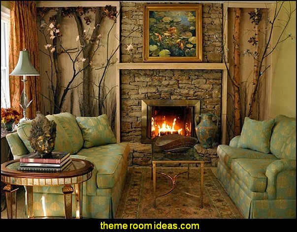rustic style living room-northwoods themed rooms-camping theme log cabin style lodge hunting
