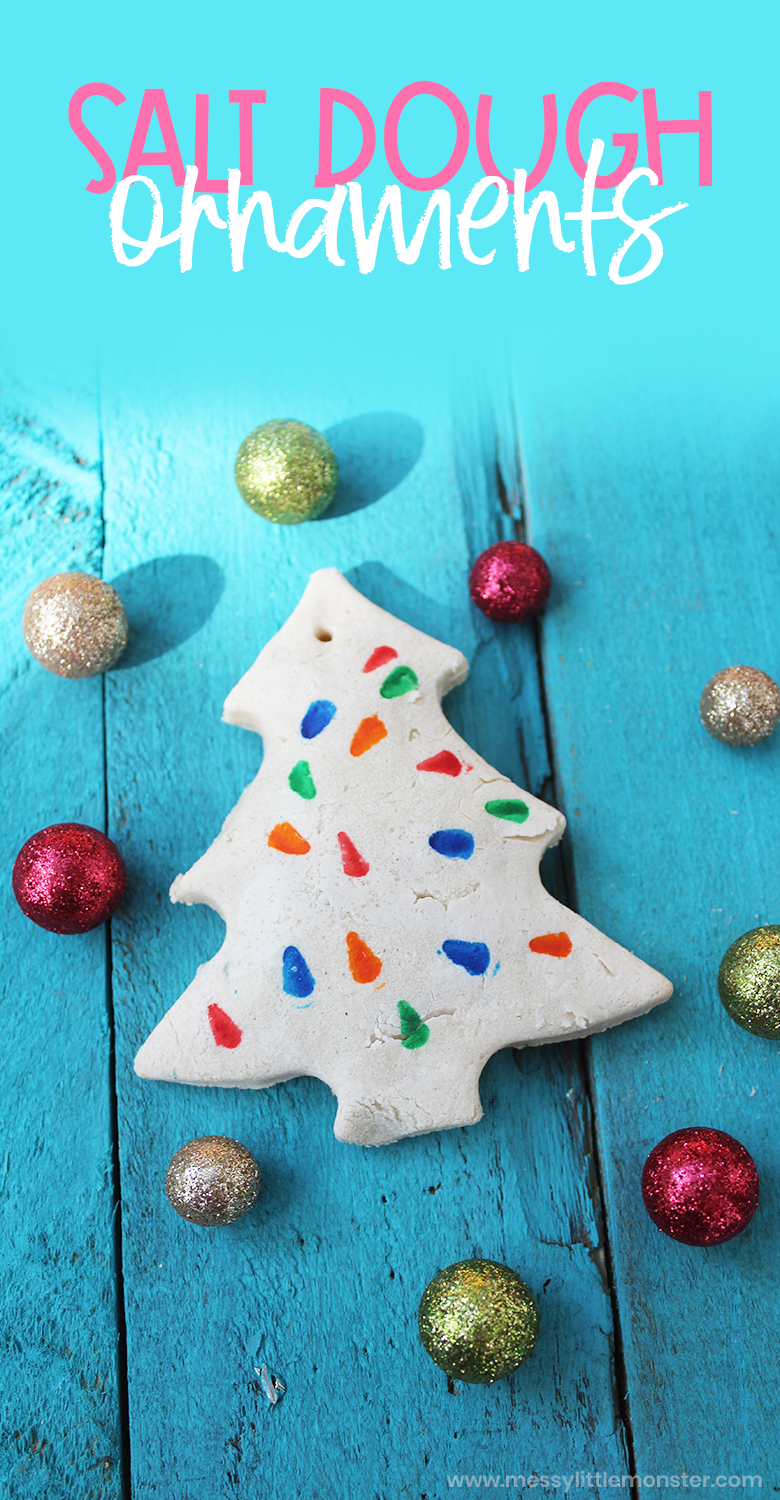 Easy salt dough ornament recipe to make Salt dough decorations for the Christmas tree. A fun and easy Christmas craft for toddlers and preschoolers.