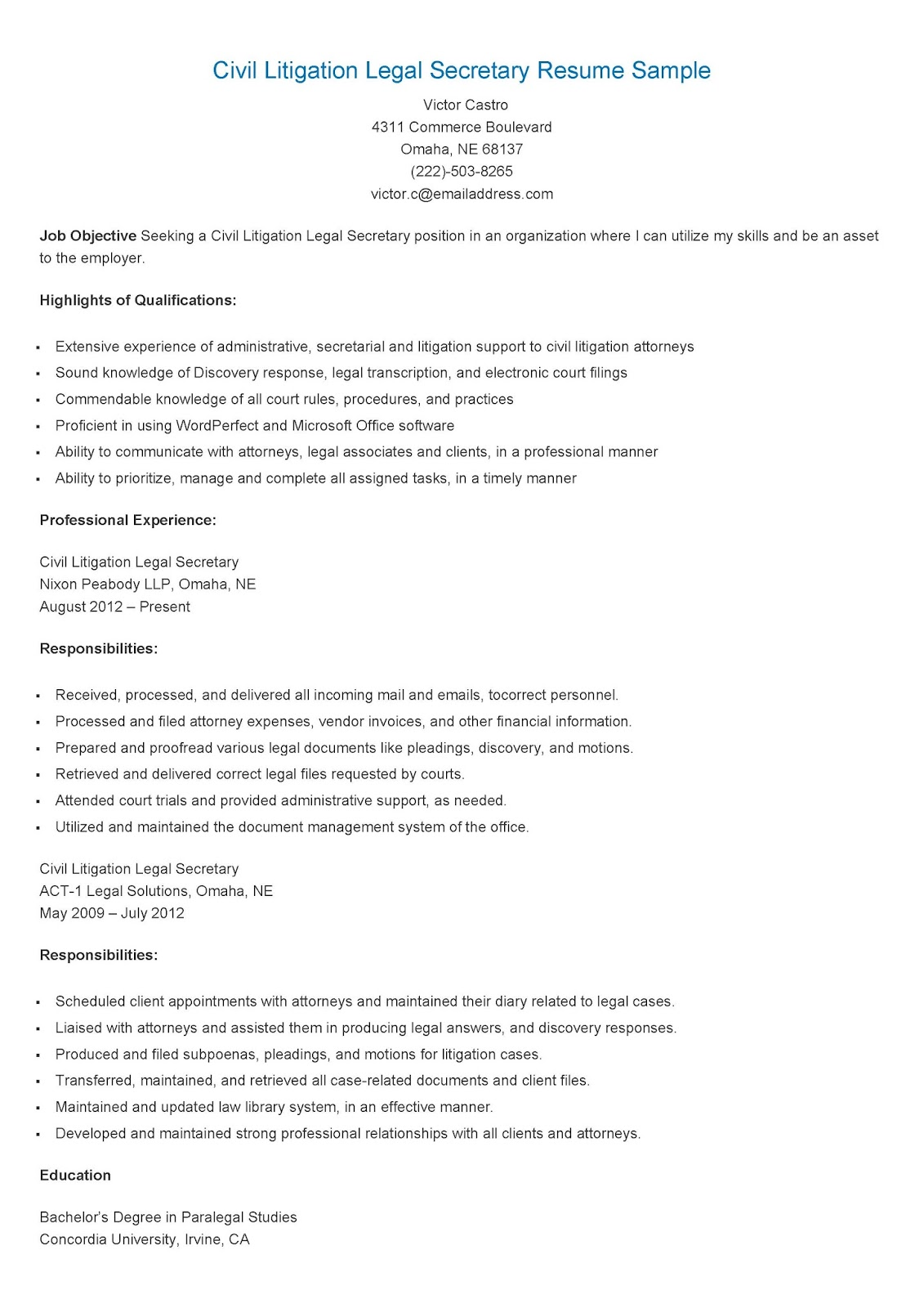 resume samples  civil litigation legal secretary resume sample