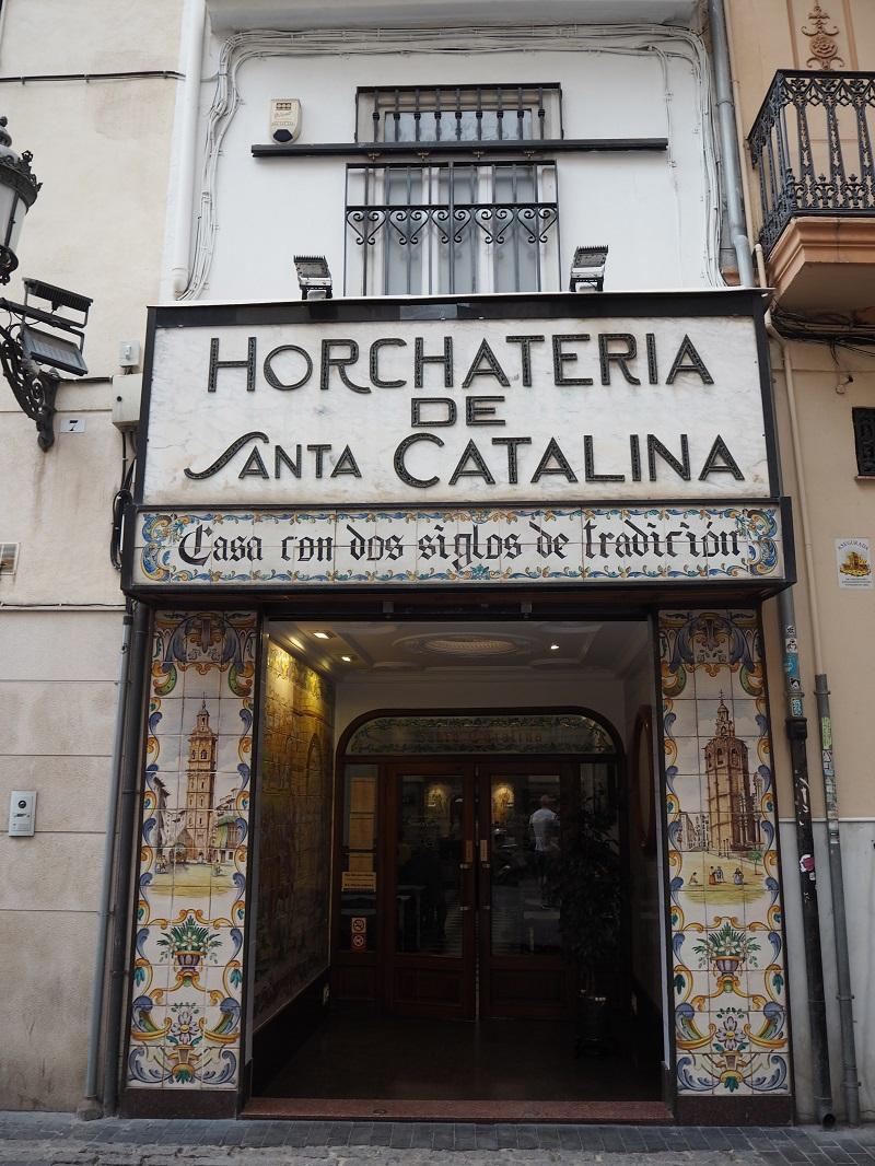 Tiled exterior of Horchateria de Santa Catalina
