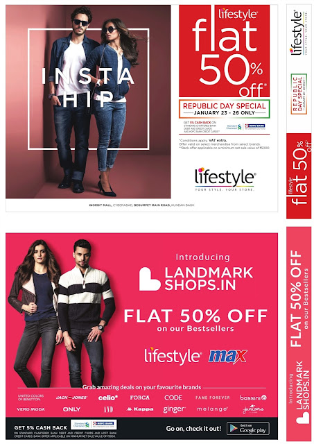 Flat 50%  off sale in Lifestyle and max | Valid from January 23rd to 26th.