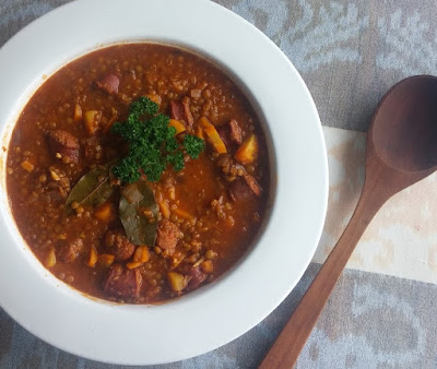 Lentils with Smoked Sausage