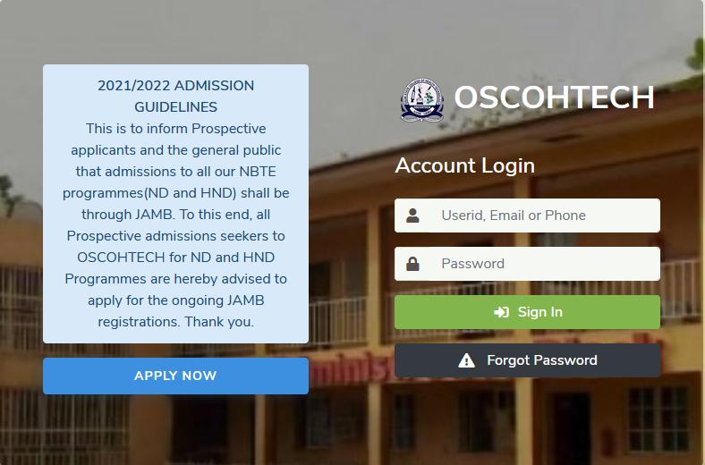 OSCOHTECH Admission Form 2021/2022 | ND, HND, Diploma & Cert.
