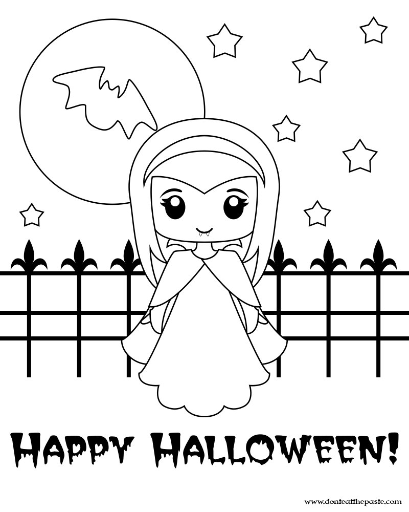 halloween small coloring pages   Don't Eat the Paste: Cute Little Vampire Printable Box and ...