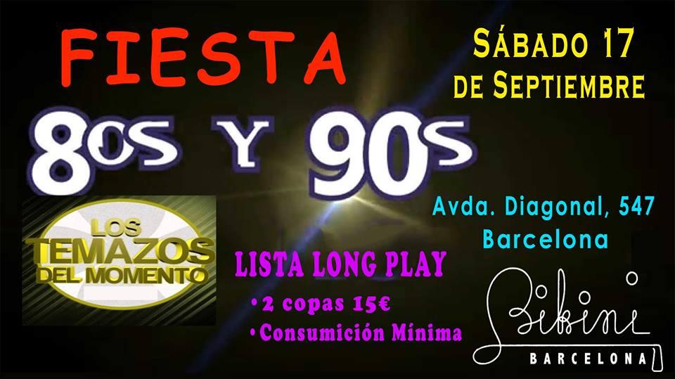 Flyer Fiesta 80s, 90s y Todo Éxitos