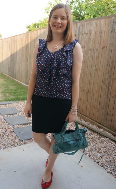 navy ruffle printed tank with red ballet flats pencil skirt Balenciaga first bag  | awayfromblue