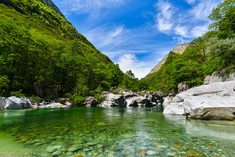 The Verzasca River is also considered to be the cleanest river in the world.