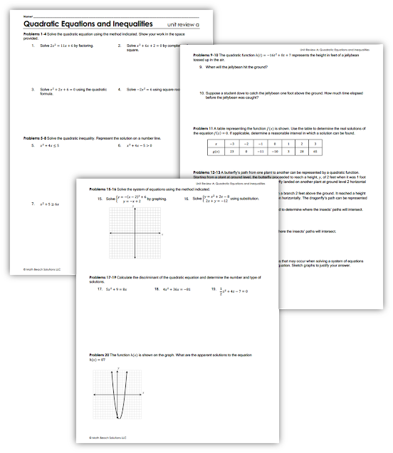 Texas Algebra 2 Unit Review