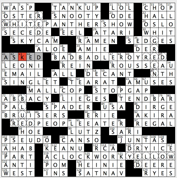 Rex parker does the nyt crossword puzzle bandleader eubanks theme mixed results colors replaced by crossing colors in circled letters that when combined create the original color spiritdancerdesigns Gallery