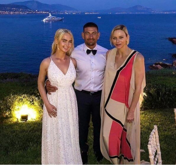 Princess Charlene wore a silk gown from Spring-Summer 2019 collection of Akris. Christos Fiotakis Elite fitness MC in Monaco