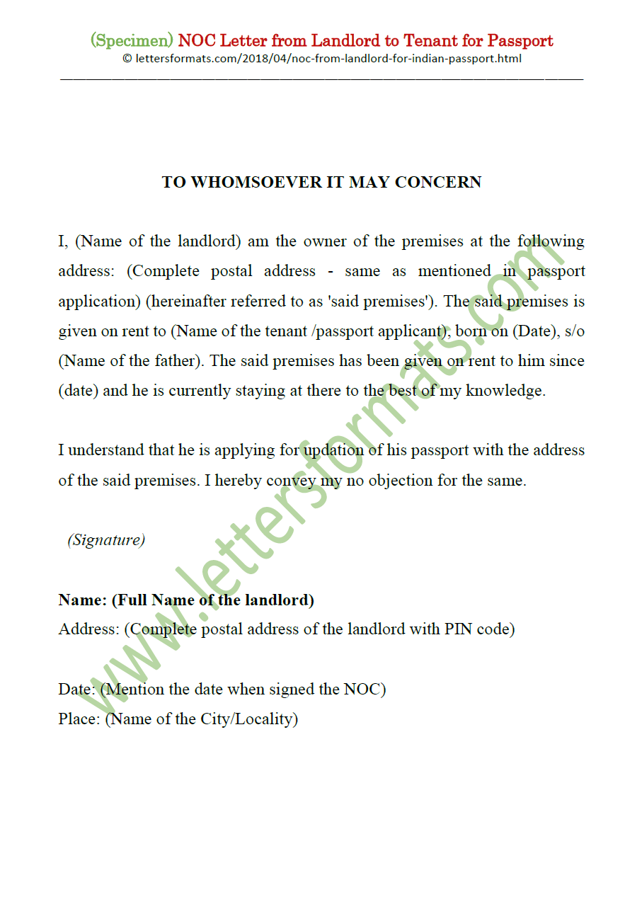 Noc Letter From House Owner Landlord To Tenant For Passport